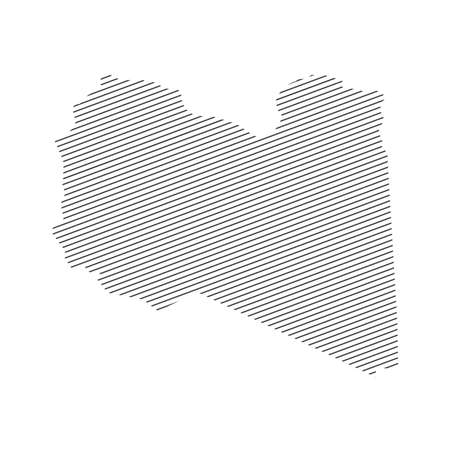 lines map of Libya isolated on white background
