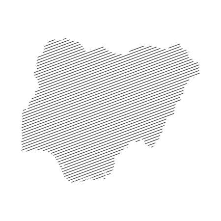 lines map of Nigeria isolated on white background