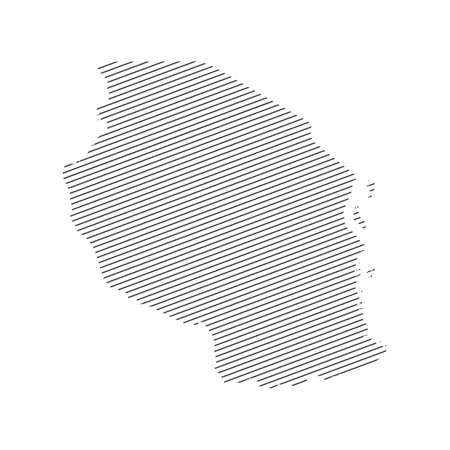 lines map of Tanzania isolated on white background 일러스트