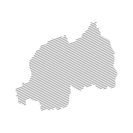 lines map of Rwanda isolated on white background