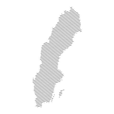 lines map of Sweden isolated on white background