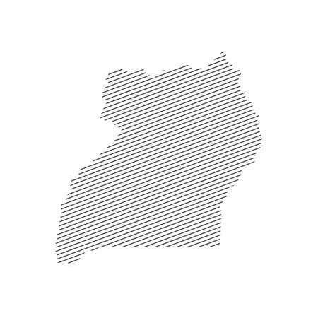 lines map of Uganda isolated on white background 일러스트
