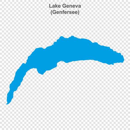map of Lake Geneva on transparent background