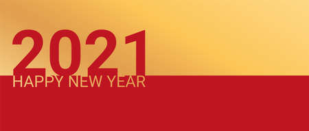 2021 Happy New Year banner on red background