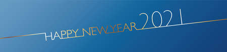 2021 Happy New Year banner on blue background