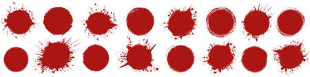 set of red round brush painted ink stamp circle banner on transparent background