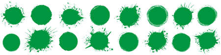 set of green round brush painted ink stamp circle banner on transparent background