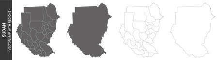 set of 4 political maps of Sudan with regions isolated on white background Çizim