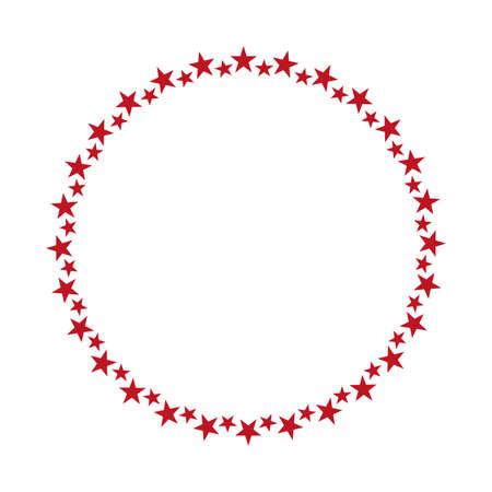 red stars round frame banner on white background