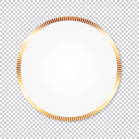 paper round sticker banner with gold frame on transparent background Vecteurs