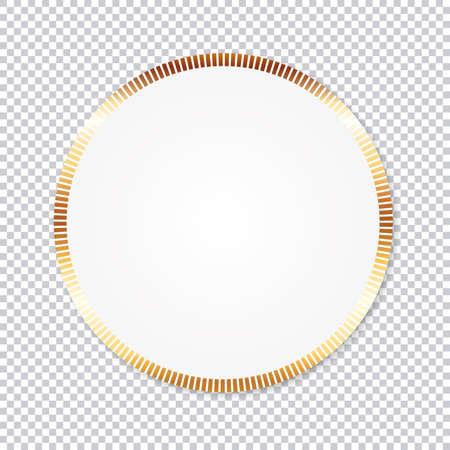 paper round sticker banner with gold frame on transparent background Vektoros illusztráció
