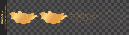 set of 4 gold political maps of Mongolia with regions isolated on transparent background