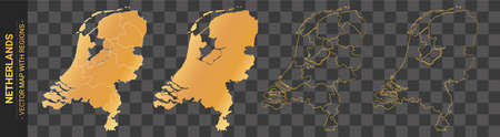 set of 4 gold political maps of Netherlands with regions isolated on transparent background