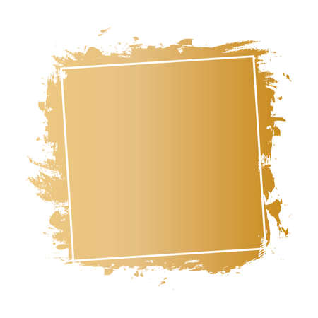 vector gold brush painted ink stamp banner on white background Vettoriali