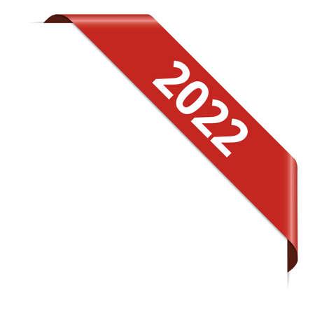 2022 - red corner ribbon banner on white background