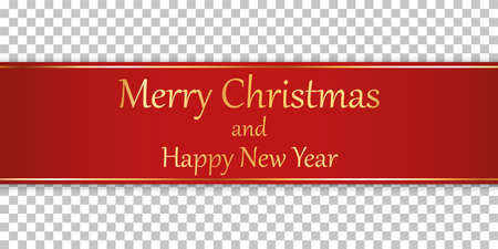Merry Christmas and Happy New Year - red ribbon banner with gold frame