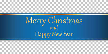 Merry Christmas and Happy New Year - blue ribbon banner with gold frame