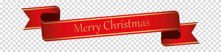 Merry Christmas - red vintage ribbon banner label Vettoriali
