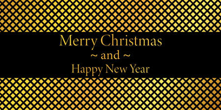 Merry Christmas and Happy New Year - abstract vector background with gold squares Vettoriali