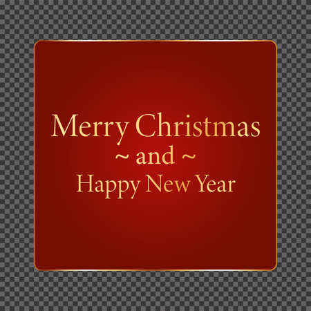 Merry Christmas and Happy New Year - red button with gold frame