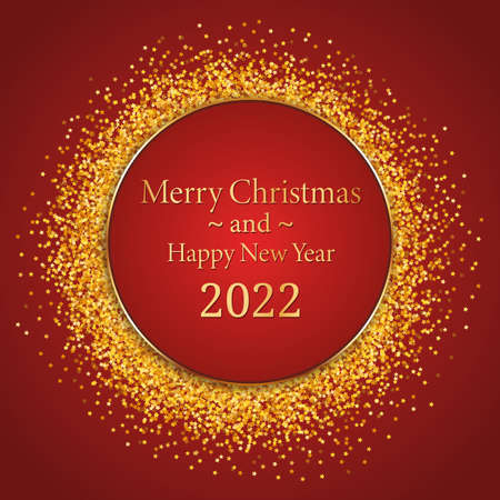 Merry Christmas and Happy New Year 2022 - round gold frame with red banner on red background