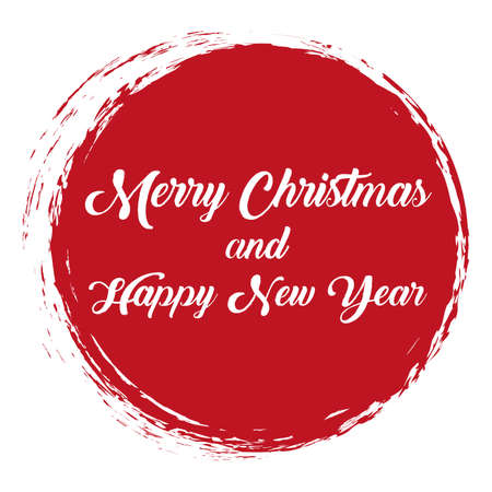 Merry Christmas and Happy New Year - vector red round brush painted ink stamp banner on white background
