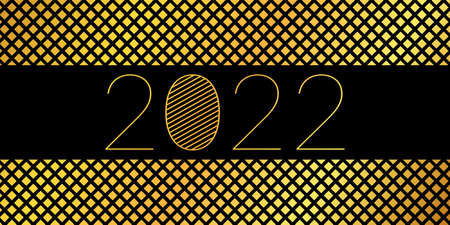 2022 New Year - abstract vector background with gold squares Vettoriali