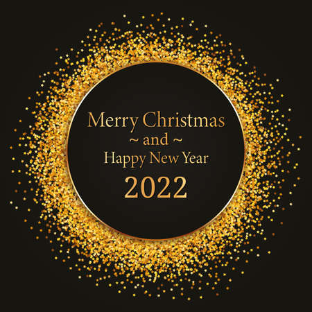 Merry Christmas and Happy New Year 2022 - round gold frame with black banner on dark background