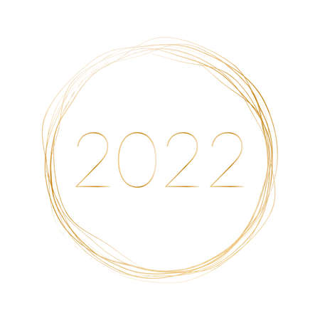 2022 New Year - gold brush painted ink stamp banner on white background