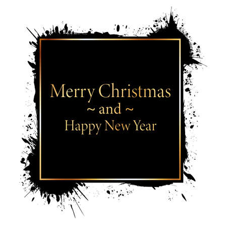 Merry Christmas and Happy New Year - gold brush painted ink stamp banner on white background