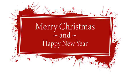 Merry Christmas and Happy New Year - vector red brush painted ink stamp banner on white background Vettoriali