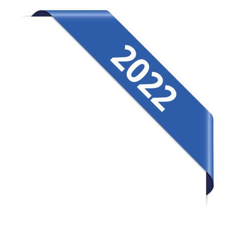 2022 - blue corner ribbon banner on white background