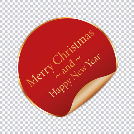 Merry Christmas and Happy New Year - red round button with gold frame