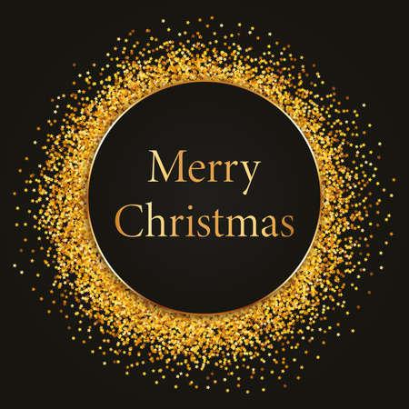 Merry Christmas -round gold frame with black banner on dark background Archivio Fotografico