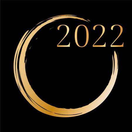 2022 New Year - gold brush painted ink stamp banner on dark background