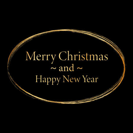 Merry Christmas and Happy New Year - gold brush painted ink stamp banner on black background Vettoriali