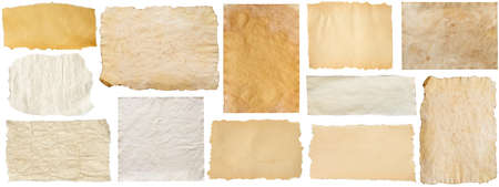 set of old brown grunge paper isolated on white background Archivio Fotografico