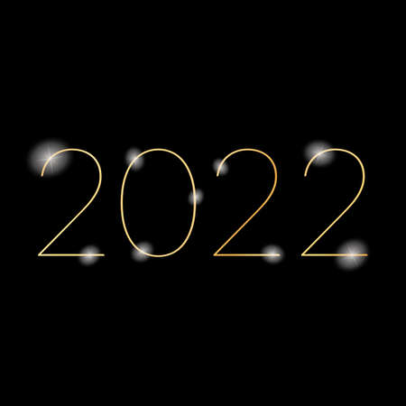 2022 New Year - gold painted ink stamp on dark background