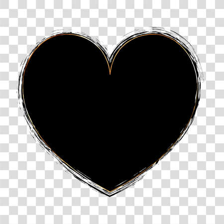 brush painted ink stamp heart banner on transparent background