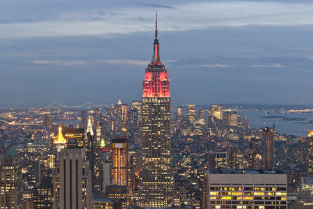 New York City. Manhattan skyline at sunset with empire state building Editorial