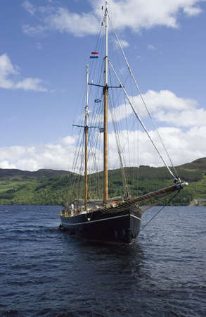 loch ness: Classic sailboat. Loch Ness, Scotland. UK