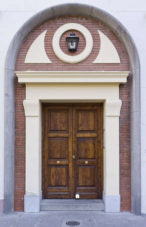 Residential Front Door Of A Victorian House In Madrid, Spain Stock Photo    13395353