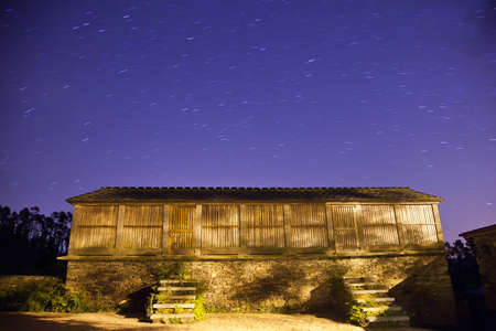 Night view of an horreo, a typical galician granary, Spain