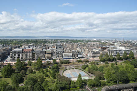 View across Edinburgh from the historic Edinburgh Castle to the New Town and Princes Street