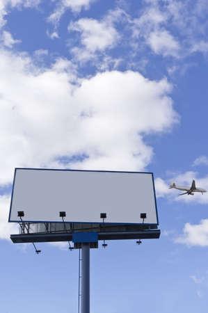 Airplane with blank billboard, travel andvertisement