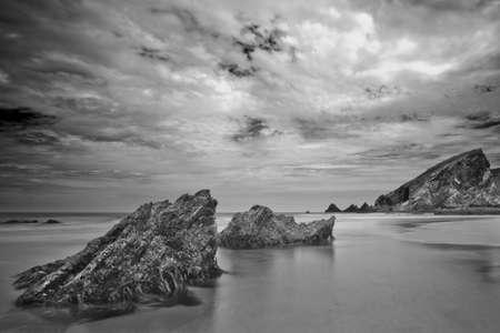 Long exposure horizontal seascape  Galicia  Spain Stock Photo
