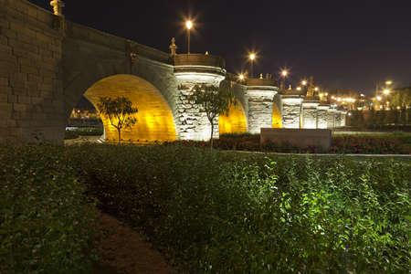 Toledo Bridge at night  Madrid, Spain photo