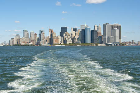 Manhattan skyline from Staten Island ferry  NY