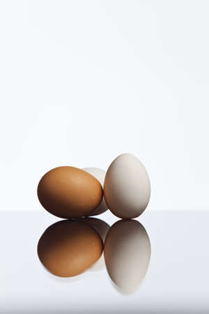 Three eggs isolated on a white background