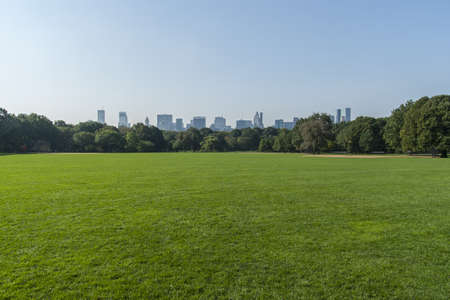 park: Panorama view of New York City Central Park with Manhattan skyline